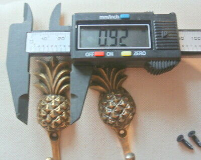 "4 very small PINEAPPLE BRASS HOOK COAT WALL MOUNTED HANG old style hook 3"" 7"