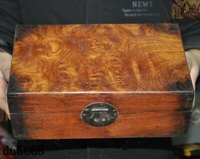 "12""Chinese dynasty Haunghuali Wood Hand carved Ancient Storage jewelry Box Boxes 2"