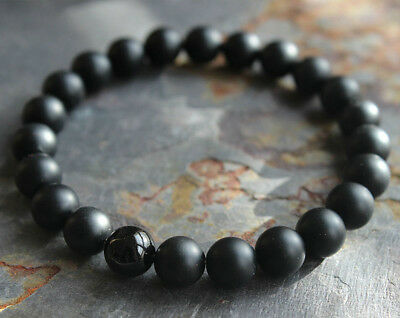 Mens Matte Black Onyx Yoga Energy Beaded Bracelet Boyfriend Gift for Him Jewelry 2