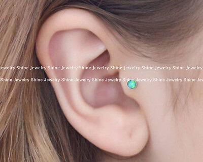 Opal Stud Thread Ring Bar Earrings Labret Lip Ear Nose Helix Tragus Piercing New