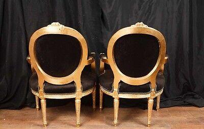 Pair French Empire Gilt Arm Chairs Fauteils 12