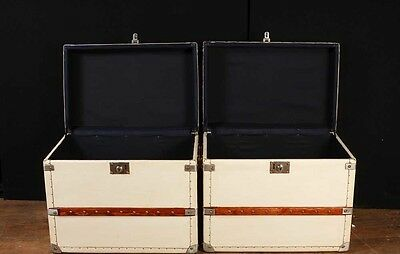 Pair White Leather English Luggage Trunks Boxes Side Tables 9