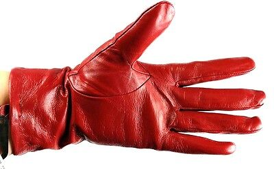 Ladies Women Premium Quality Genuine Soft Leather Gloves Fur Lined Driving Warm