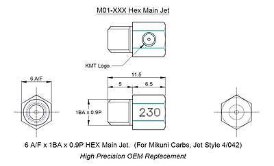 KMT Mikuni type 4/042. M01 main hex jet TUNING KIT of 10 sizes. Made in UK. 4
