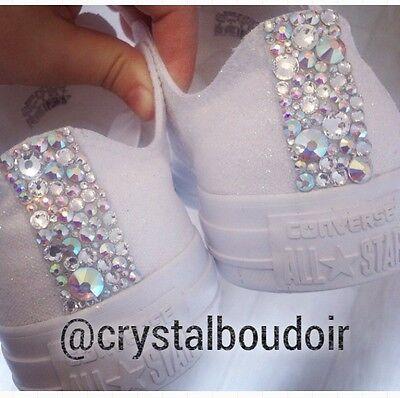 884e43fefa3146 ... 7 Custom Personalised Crystal Converse Bling Wedding Bride Bridesmaids  Prom Shoes 2