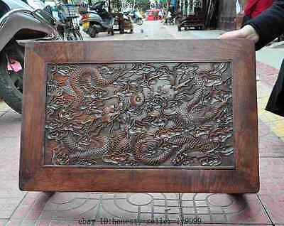 old chinese huanghuali wood carved dragon beast foo dog lion desk Tea table A 5