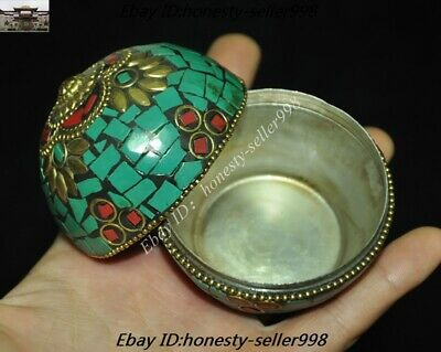 Old Tibet Tibetan Nation Bronze inlay Turquoise coral Jewelry Box Rouge boxes 7