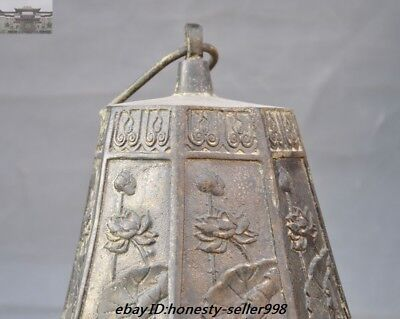 """23""""Old Chinese Buddhism Temple Bronze Lotus flower Hanging Pray Bell Zhong Bells 6"""