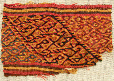 Pre-Columbian Chancay Textile Fragment AD1000-1400 SUPERB museum quality nice 5