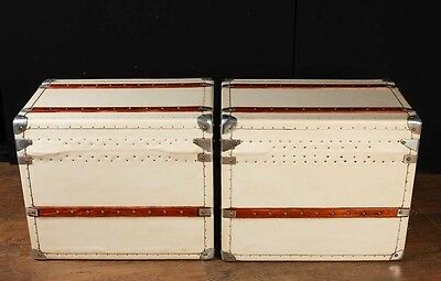 Pair White Leather English Luggage Trunks Boxes Side Tables 4