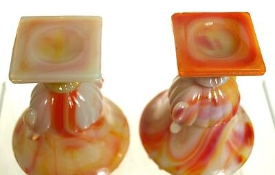 Akro Agate - Beaded Top Urns -  Marbleized Orange - Pair