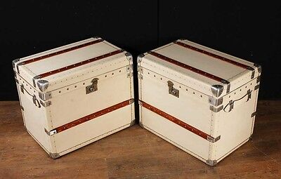 Pair White Leather English Luggage Trunks Boxes Side Tables 2