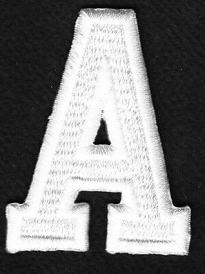 "- Iron On Embroidered Applique Patch LETTERS BLACK BLOCK LETTER /""W/"" 1 7//8/"""
