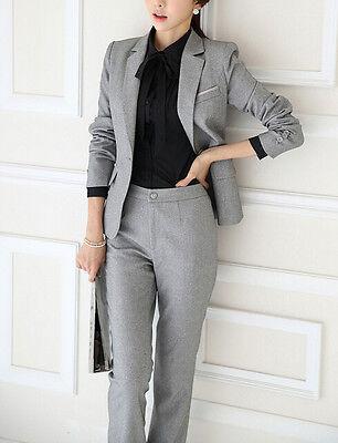 1 sur 2 élégant Costume ensemble femme gris veste manches longues pantalon  7140 4ff9ee593b03