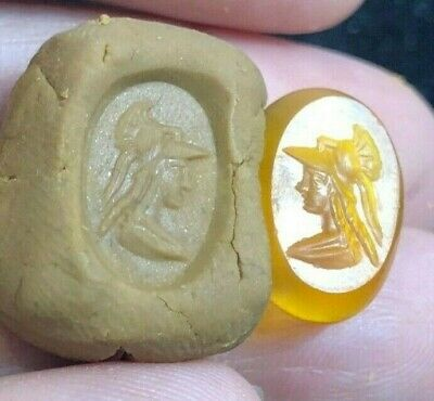 Stunning ancient carnelian Intaglio Handsome Greek Young King Signet Bead 3