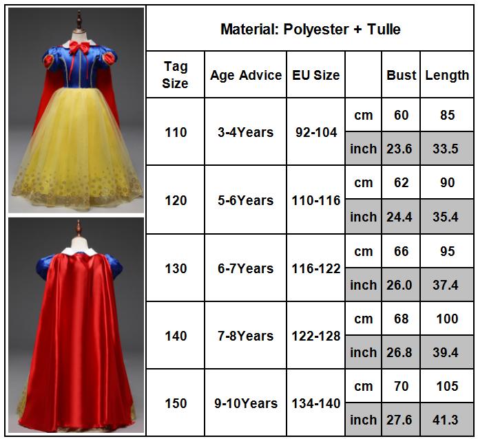 Kid Girls Snow White Princess Costume Fancy Halloween Party Dress Child Cosplay 2