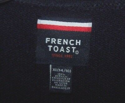 KIDS Navy Blue V-Neck Cardigan Sweater French Toast School Uniform Size XL 14/16