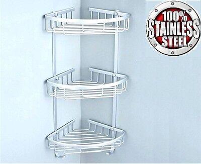 Stainless Steel Shower Caddy 100 Rust Free Bathroom Shelf Corner Organizer Rack 17 45 Picclick Uk