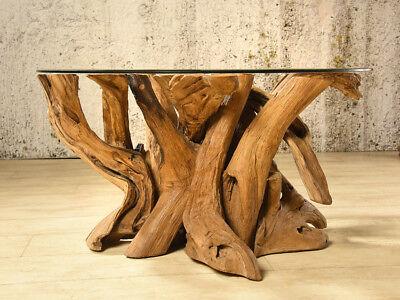 Wurzelholz Couchtisch Koroba Rund 80 Teak Wurzeltisch Holz Beistelltisch Tisch