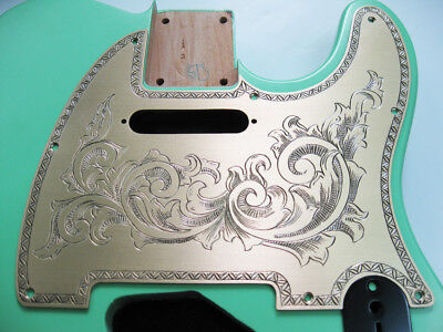 Custom classical pattern hand engraved brass pickguard fits tele electric guitar