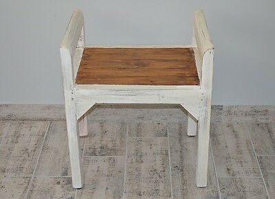 Bench Seat Seater Settee Chair French White Ottoman Wood Vintage Retro Antique 7