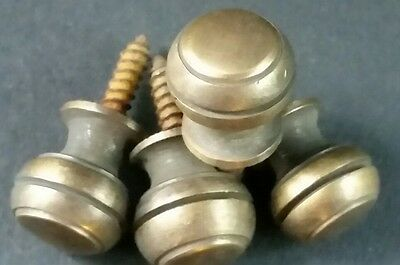 """4 Solid Brass SMALL Stacking Barrister Bookcase 7/16""""dia Knobs drawer Pulls #KK 5"""