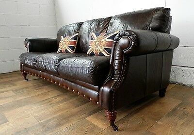 PAIR of VICTORIAN STYLE CIGAR BROWN STUD LEATHER CHESTERFIELD 3 SEATER SOFAS 7