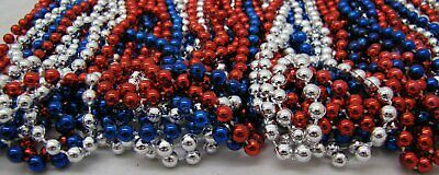 Mardi Gras Beads Red Blue Silver USA Troops July 4th Parade 6 Dozen 72 NECKLACES 5