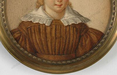 """""""Portrait of a little girl"""" French miniature from a famous collection, 1820/30s 4"""