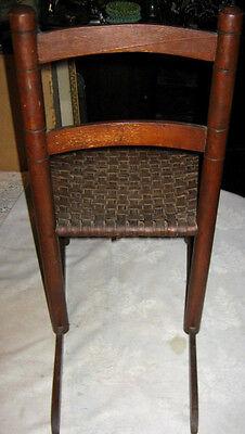 Antique Child Wood Primitive Country Farm Rocking Chair Toy Doll Splint Folk Art 3