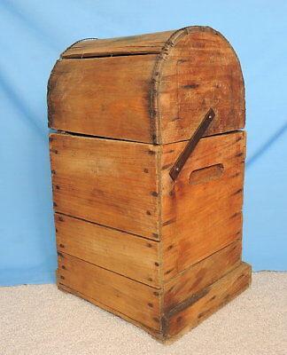 Primitive Antique Higham Rocker Lid Wood Box W/Antique Glass Bottle 3