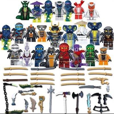 Ninjago Ninja Lot 24  Figures Blocs Ninja Hero Kai Jay Cole Zane Nya Armes 3