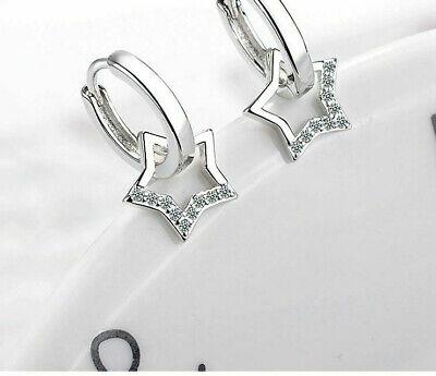 Schicke Ohrringe mit abnehmbaren Stern Echt Sterling Silber 925 Geschenk Neu