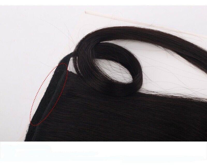 Umwickeln Pferdeschwanz Echt Weich Haarverlängerung Clip In Lang Haarteil DE lsn 5