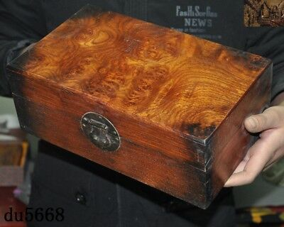"12""Chinese dynasty Haunghuali Wood Hand carved Ancient Storage jewelry Box Boxes 3"