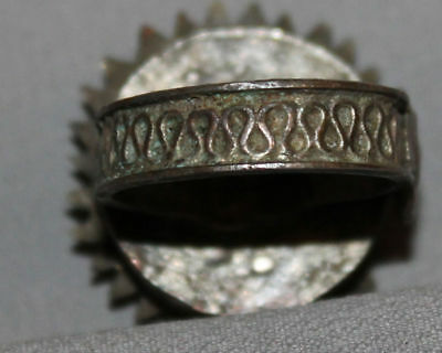 Antique Greek Folk Hand Made Medieval Bronze Ring 11