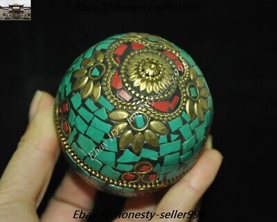Old Tibet Tibetan Nation Bronze inlay Turquoise coral Jewelry Box Rouge boxes 6