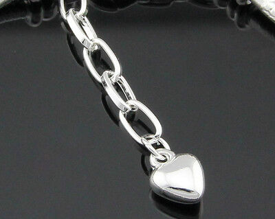 10pcs Silver//P Lobster Clasp Heart Snake Chain Bracelet Fit European Charms /& PM