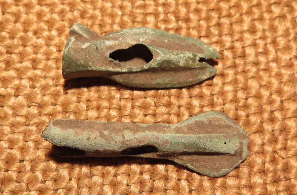 Scythian- Sarmatia Bronze 2 pcs.Old Original Ancient Barbed Arrowhea 7-4 BC #5 2