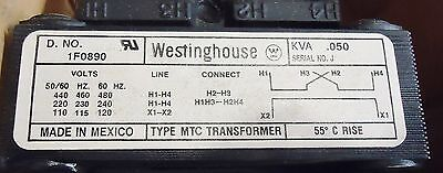 New Westinghouse Mtc .050 Kva Transformer Serial: J, Part# 1F0890