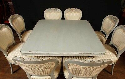 Set 8 French Provincial Painted Dining Chairs Rustic Furniture 12
