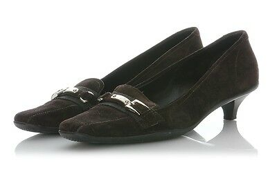 PRADA BROWN SUEDE Loafer Heels, Size 38 7.5 Shoes Low