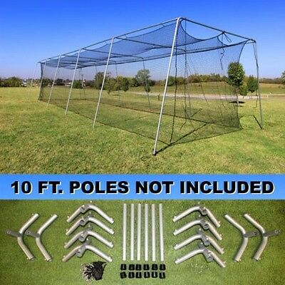 Batting Cage Net 10' x 12' x 60' #24 (42PLY) with Door & FRAME Baseball Softball 9