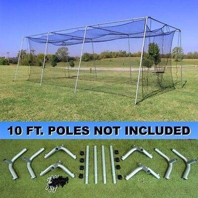 Batting Cage Net 10' x 12' x 30' #24-42PLY w/ Door & Frame Baseball Softball 3