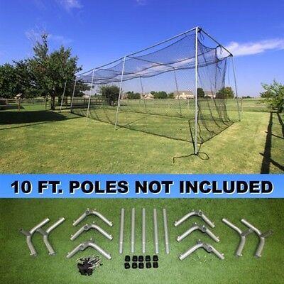 Batting Cage Net 10' x 12' x 40' #24 (42PLY) w/ Door & Frame Baseball Softball 9