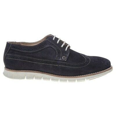 New Mens Lotus Navy Connor Suede Shoes Brogue Lace Up 2