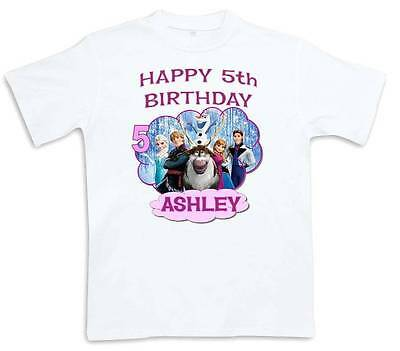 FROZEN HAPPY BIRTHDAY T SHIRT Personalized Any Name Age Toddler To Adult 2