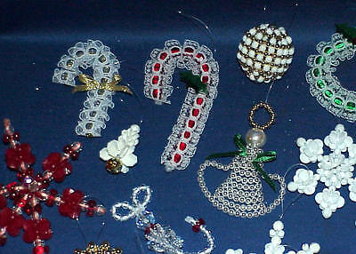 Beaded Christmas Ornaments.Vintage Hand Made Beaded Christmas Ornaments Lot Of 21 Very Nice Must See