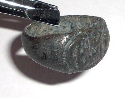 Ancient Roman Empire, 1st - 3rd c. AD. Bronze Intaglio Ring, Horse with Rider 2