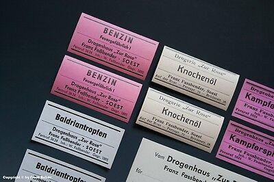 - 24 x Etiketten für Apotheken Flaschen um 1900-1960 -